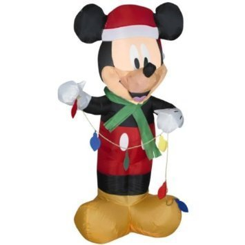 Disney – 3.5 ft. – Gemmy Christmas Airblown Inflatable – LED – Mickey Mouse Holding Set of Lights