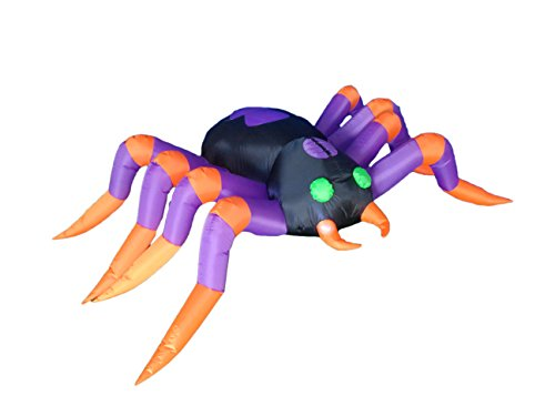 8 Foot Long Halloween Inflatable Black Purple Spider 2015 Indoor Outdoor Yard Decoration