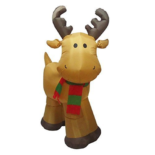 CHRISTMAS INFLATABLE LED LIGHTED 5 FT TALL ADORABLE REINDEER WITH STRIPED SCARF OUTDOOR HOLIDAY YARD DECORATION PROP