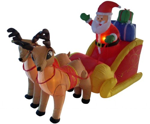 6 Foot Long Christmas Inflatable Santa on Sleigh with Reindeer Yard Decoration