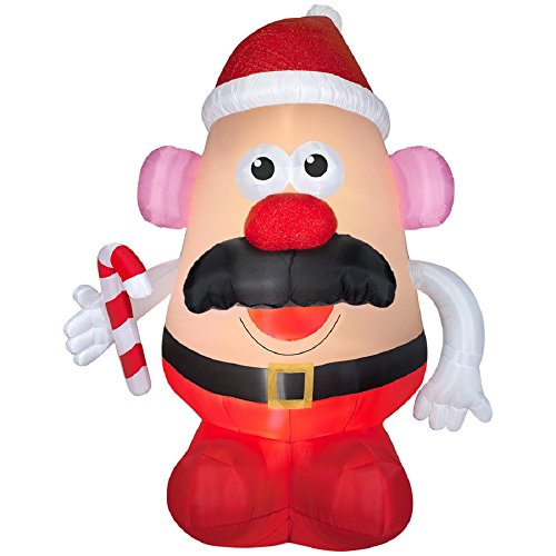 CHRISTMAS INFLATABLE 9 FT TALL MR POTATO HEAD SANTA WITH CANDY CANE AIRBLOWN YARD PROP